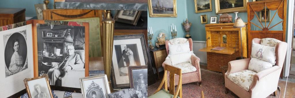 Jämför bilden till höger med fåtöljen han sitter i, lampan och skänken.