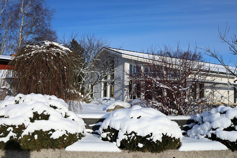 Vackert att se husbygget i vinterskrud
